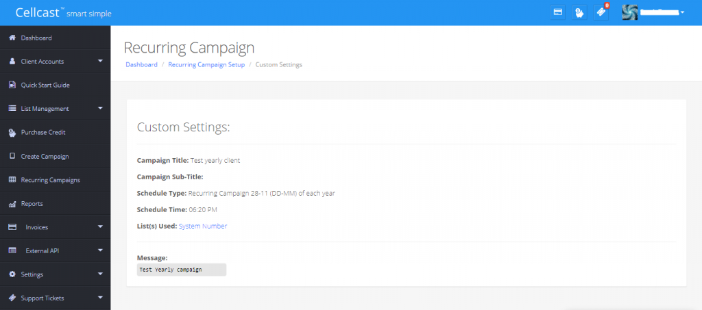 Recurring campaign detail